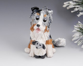 Collie Blue Merle Christmas Ornament Figurine Sheep Porcelain Clearance