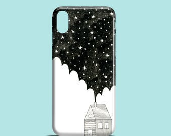 House in the Night phone case, stars iPhone X, iPhone 8, iPhone 7, iPhone 7/8 Plus, iPhone 6/6S, iPhone 5/5S/SE, constellation iPhone case