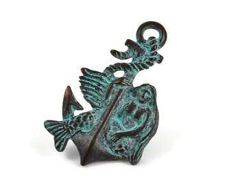 Mermaid and Anchor Pendant - Green Patina - 27x45mm - Mykonos Beads
