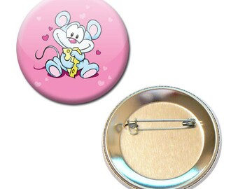 Badge 56 mm - mouse cheese Love love heart Valentine Heart