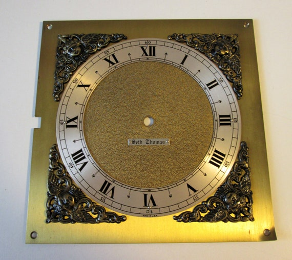 "7 1/2"" X 7 1/2"" Vintage Seth Thomas Heavy Solid Brass Clock Panel with 6"" Dial and Roman Numerals for your Clock Projects, Steampunk Art"