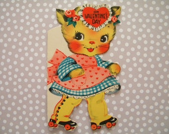 Vintage Valentines Day Card Kitty Cat on Roller Skates Signed