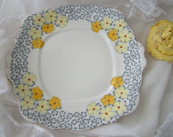 Bell English bone china square bread cake sandwich plate primrose yellow blue white