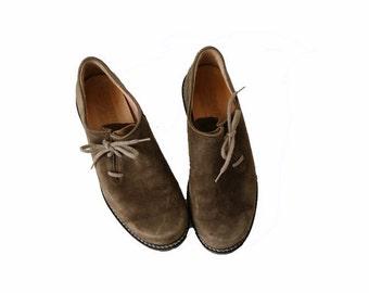 Vintage Mens Brown Khaki Bavarian Oxfords Men Octoberfest Flats Suede Leather Shoes Etnic Shoes Size 40.5/7/7.5