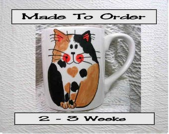 Smiling Calico Cat Mug Original Handmade With Paws On Back by GMS
