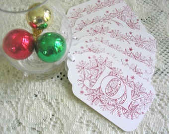 Large Christmas Tags - Hand Stamped Red on White Joy Gift Tags - Set of 6 Double Layer Holiday Tags-