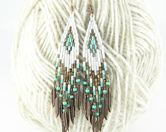 Beaded Earrings Native American inspired , Boho earrings, hippie earrings, dangle earrings, beadwork earrings, Weeko - white brown turquoise