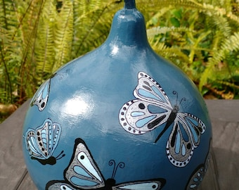 Blue Butterfly Hand Painted Gourd