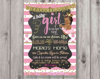 Digital Chalkboard Pink and Gold Glittery African American Princess Baby Girl Shower Invitation Personalized Printable