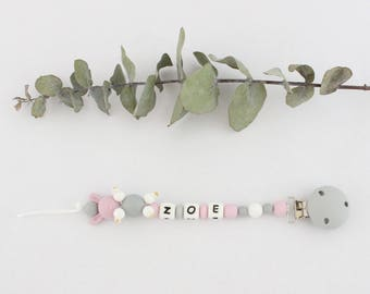 """Pacifier clip / pacifier clip / pacifier to chew beads silicone, personalized with baby's name, logo lapin """"Zoé"""""""