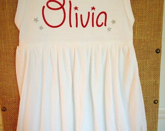 Personalized 4th of July america glitter vinyl name monogrammed applique dress