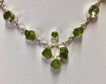 Genuine Raw Peridot Sterling Silver Chain Necklace