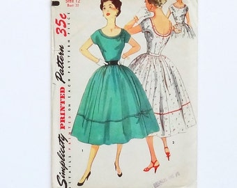 Vintage 1954 Simplicity Junior and Misses One-Piece Party Dress Pattern #4637 - Size 12 (Bust 30 - Waist 24) - Cut and Complete
