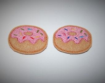 Set of 2 Donut Feltie Felt Embellishments