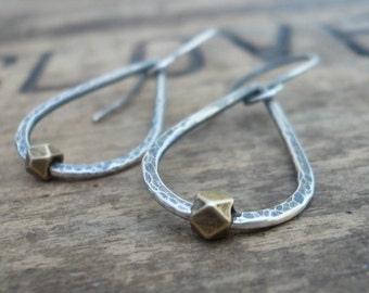 Large Cosset Earrings - Handmade. Brass. Oxidized, Hammered Sterling Silver