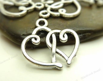 8 Double Heart Charms ( Double Sided ) 20x18mm Antique Silver Tone Metal - BC9