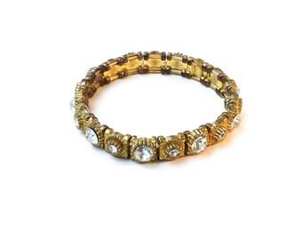 SALE  Gold Art Deco Bracelet - vintage glass crystal bracelet, faux gold bracelet, antique gold clear rhinestone, Hollywood regency