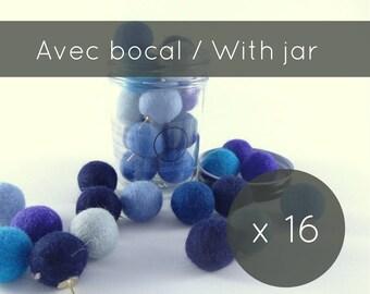 Thumbtacks 16/blue push pins/felt balls/pins/pompom/cork board/christmas stocking/office accessorie/made in Canada/professor gift/university