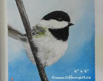 """Chickadee painting 6"""" x 6"""", Bird painting, Chickadee decor, bird wall art, bird decor, bird decal, bird decoration, bird lover gift,bird art"""