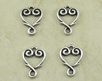 4 TierraCast Vine Heart Link Charms > Valentines Love Bride Wedding Bridal - Silver Plated Lead Free Pewter - I ship internationally - 3093