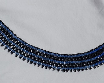 Midnight Blue Black Beaded Choker