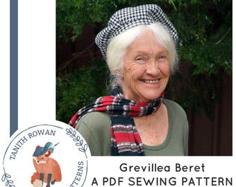 Grevillea Beret Pattern - pdf sewing pattern for a sectioned beret hat
