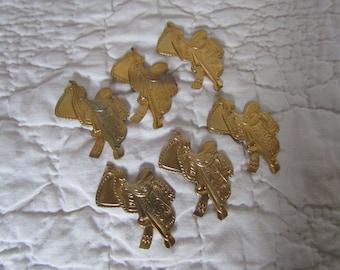 6 Vintage Brass Saddle Cabochons