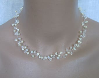 Ivory/Crystal Necklace p bridal/wedding/evening, original, dress (cheap)