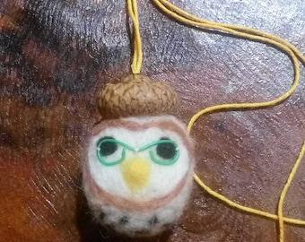 Felted animal needle felted owl pendant