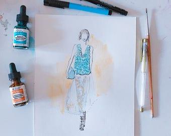 Fendi Spring 2017 4 Original Watercolour Fashion Illustration, Fashion Sketch, Watercolour Illustration, Fashion Art