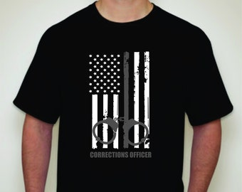 Corrections Officer T-shirt- Corrections officer apparel- Corrections Officer Gift- Thin Silver Line