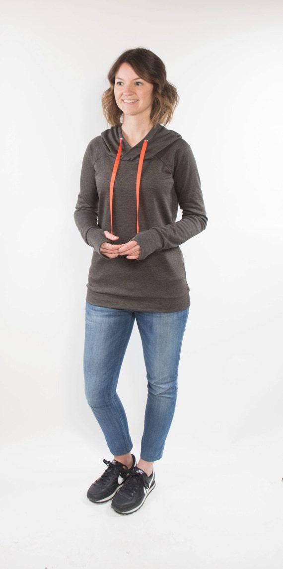 Lane Raglan womens knit raglan shirt or hoodie with thumbhole