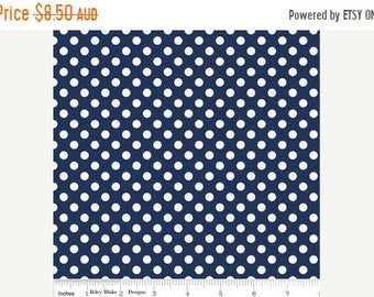 ON SALE Riley Blake Fabric - 1/2 Metre Small Dots in Navy