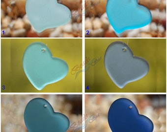 Sea Glass Heart Blue LG  2pcs (30mm) Heart Flat Cultured Sea Glass Beads~Jewelry Making Beads~Beach Glass Pendant Beads~ More Colors