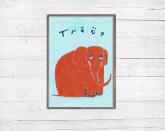 Roter Elefant A4 Print Druck Illustration Tier Tierlaute Tierbild