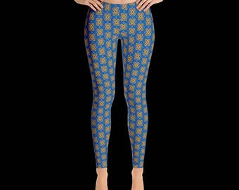 Blue and Orange Adinkra Leggings