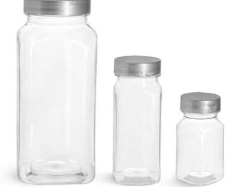 4 oz. Clear Plastic Square Bottle with Silver Plastic Lined Lid