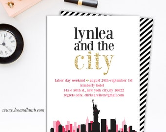 Sex and the City Inspired Bachelorette Invitation - PRINTING - 5x7