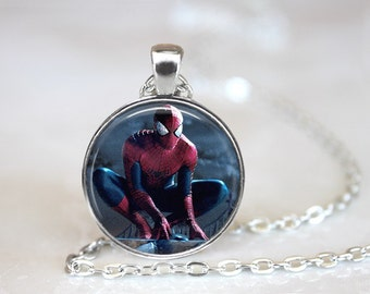 Spider-Man Glass Pendant, Photo Glass Necklace, Glass Keychain, Glass Jewelry