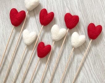 Stone and Co Valentine Wool Felt Heart Posies on Birchwood Stems