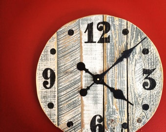 Handmade Pallet Wood Wall Clock - Gray and White Rustic Finish
