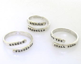 Adjustable Ring, custom made ring, hand stamped jewelry with your personalized inscription, silver ring, wrap ring, open ring