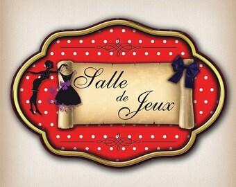 Sticker vintage dot 008 playroom door plaque