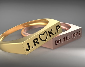 signet personalized stackable name ring