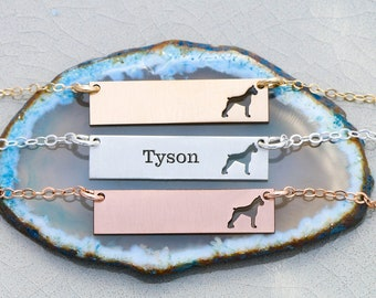 Boxer Necklace • Boxer Dog • Silver Bar • Personalized Gold Animal Necklace Layering Jewelry Dog Mom Gift Dog Breed Pet Memorial