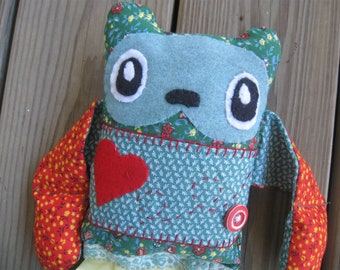 Folk art Rag Doll Esme embroidered stuffed red heart bear
