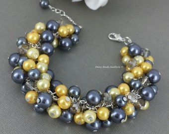 Shades of Yellow Bracelet Bridesmaid Gift Grey Bracelet Chunky Bracelet Pearl Bracelet Wedding Jewelry Maid of Honor Gift on a Budget