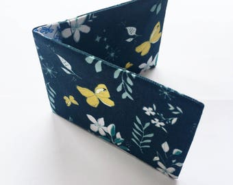 Navy Oyster Card Holder / Business Card Holder/ Credit Card Wallet/ With Yellow and Cream Print of flowers and butterflies