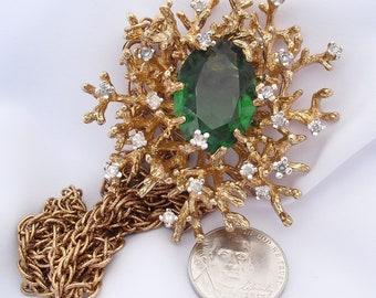 Massive Vintage Panetta Pendant Necklace Brooch Emerald Glass Huge Modernist Statement Piece