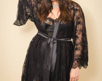 Black Lara lace kimono, gown plus size